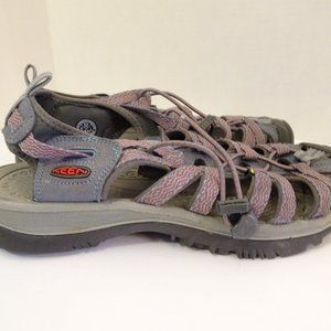 KEEN Whisper Gray Red Water Shoes Sandals Size 9.5